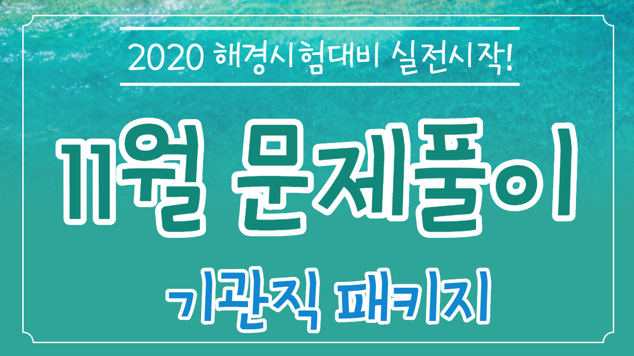 2020 해양경찰 특채 문제풀이 종합반(11월 개강반) [기관]